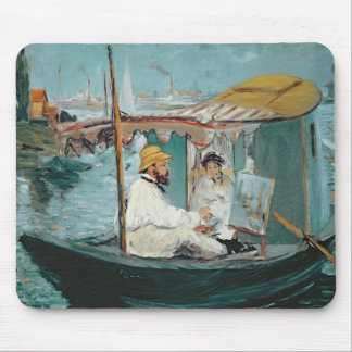 Manet | Monet in his Floating Studio, 1874 Mouse Mat
