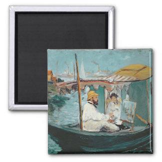Manet | Monet in his Floating Studio, 1874 Square Magnet