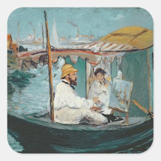 Manet | Monet in his Floating Studio, 1874 Square Sticker