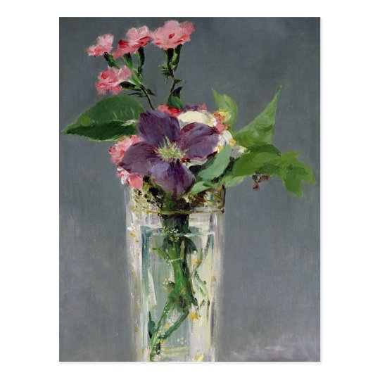 Manet | Pinks and Clematis in a Crystal Vase, 1882 Postcard