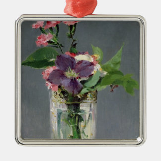 Manet | Pinks and Clematis in a Crystal Vase, 1882 Silver-Colored Square Decoration