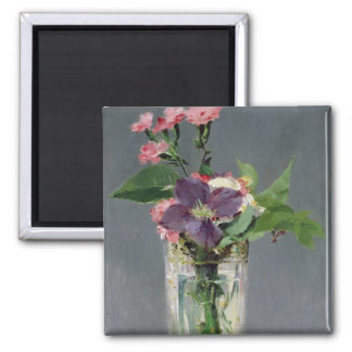 Manet | Pinks and Clematis in a Crystal Vase, 1882 Square Magnet