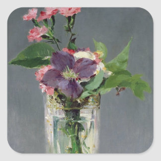 Manet | Pinks and Clematis in a Crystal Vase, 1882 Square Sticker