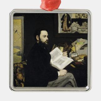 Manet | Portrait of Emile Zola  1868 Silver-Colored Square Decoration