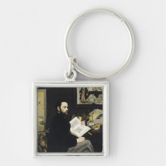Manet | Portrait of Emile Zola  1868 Silver-Colored Square Key Ring