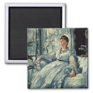 Manet | Reading, 1865 Square Magnet