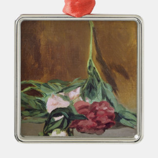 Manet | Stem of Peonies and Secateurs, c.1864 Silver-Colored Square Decoration