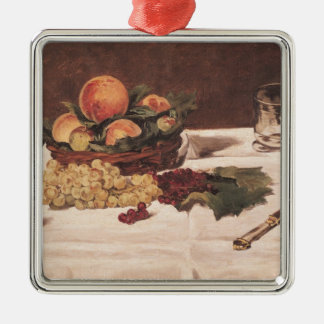 Manet | Still Life: Fruit on a Table, 1864 Silver-Colored Square Decoration