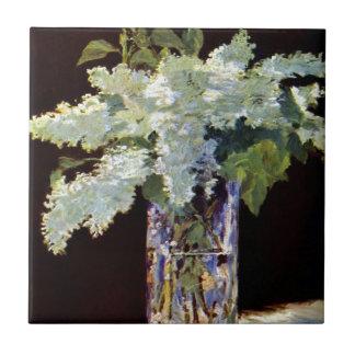 Manet Still Life White Lilacs Small Square Tile
