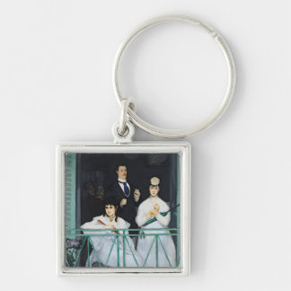 Manet | The Balcony, 1868-9 Silver-Colored Square Key Ring