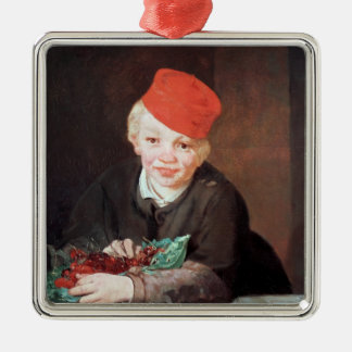Manet | The Boy with the Cherries, 1859 Silver-Colored Square Decoration