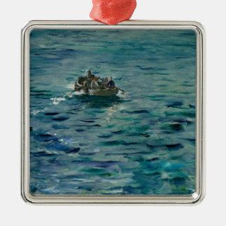 Manet | The Escape of Henri de Rochefort Silver-Colored Square Decoration