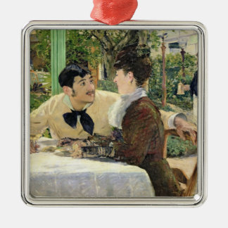 Manet | The Garden of Pere Lathuille, 1879 Silver-Colored Square Decoration