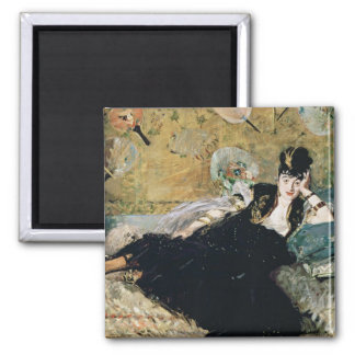 Manet   The Lady with Fans Square Magnet