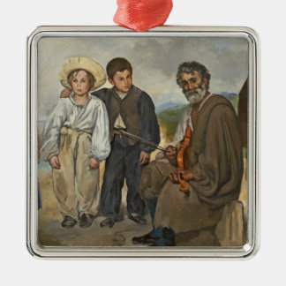 Manet | The Old Musician, 1862 Silver-Colored Square Decoration