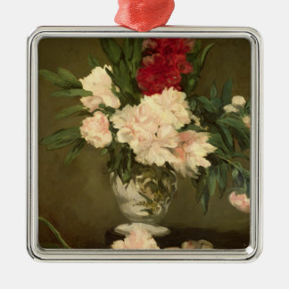 Manet | Vase of Peonies on a Small Pedestal, 1864 Silver-Colored Square Decoration