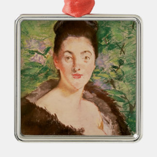 Manet | Woman in a fur coat Silver-Colored Square Decoration