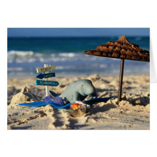 Manfred the Manatee at the Beach Card