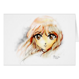 Manga Anime Girl sketch big eyes kawaii cute Greeting Card
