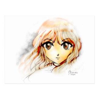 Manga Anime Girl sketch big eyes kawaii cute Post Card
