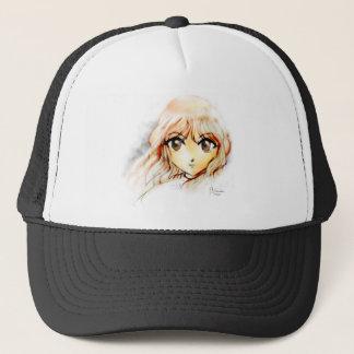 Manga Anime Girl sketch big eyes kawaii cute Trucker Hat
