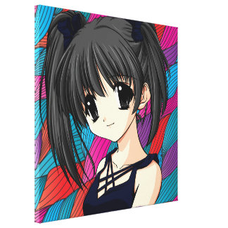 Manga Anime Girl  Wrapped Canvas Stretched Canvas Print