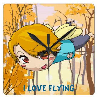 Manga fairy flying boy square wall clock