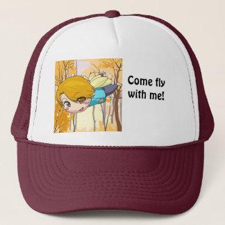 Manga fairy flying boy trucker hat
