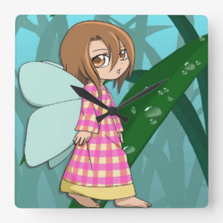 Manga fairy forest glade girl square wall clock
