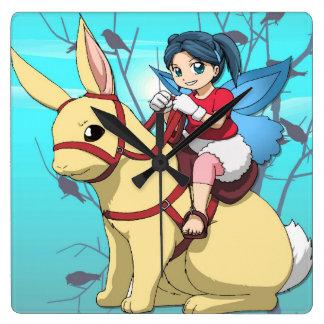 Manga fairy, rabbit and rider square wall clock