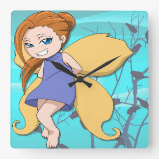 Manga Flying fairy in a blue dress Square Wall Clock