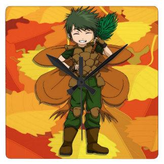 Manga forest fairy boy square wall clock