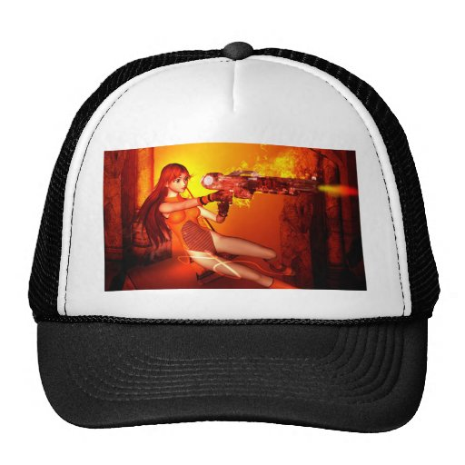 Manga girl with a weapon trucker hats