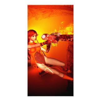 Manga girl with a weapon photo card