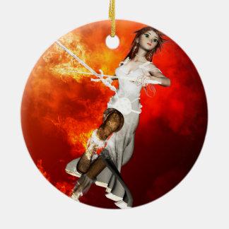 Manga girl with swords christmas tree ornaments