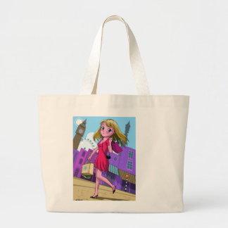 manga London shopping girl Tote Bags