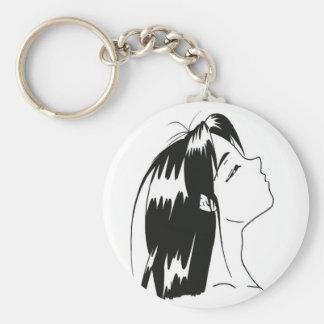manga noir&blanc basic round button key ring