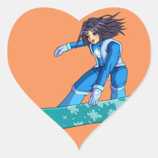 Manga Snowboarder Girl Heart Sticker