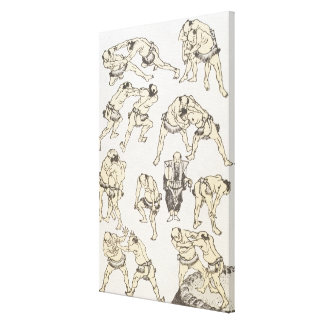 Manga: studies of gestures and postures of wrestle gallery wrap canvas