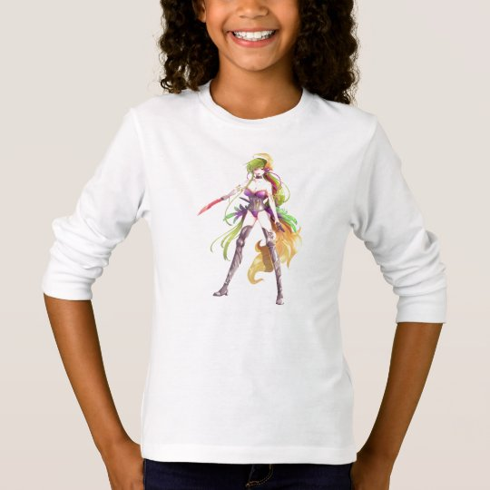 Manga Warrior Woman White Long Sleeve T-Shirt