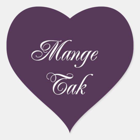 Mange Tak Heart Stickers