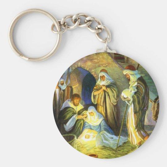 Manger Jesus Keychain Christmas