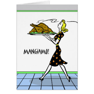 Mangiamo! We Eat! Retro Italian Thanksgiving Card