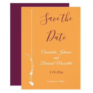 Mango and Purple Wedding | Save the Date Card