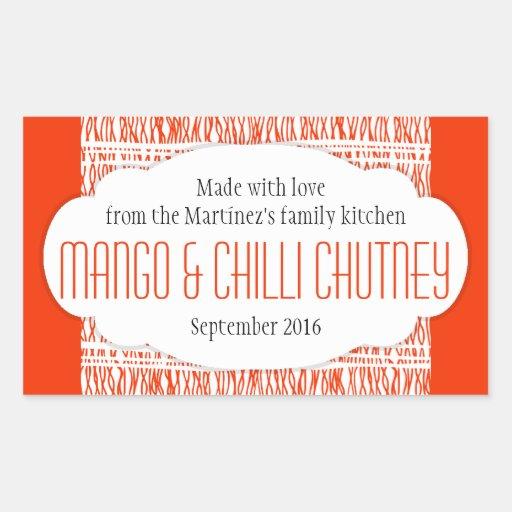 Mango & Chilli Chutney orange food label sticker