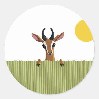 Mango the Gazelle Peek-a-boo Round Sticker