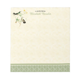Mangrove Hummingbird Green Damask Note Pad