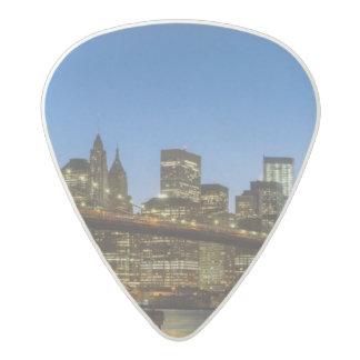 Manhattan and Brooklyn Bridge at dusk Acetal Guitar Pick