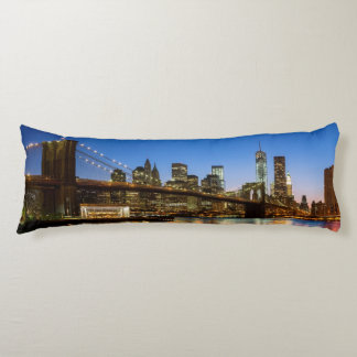 Manhattan and Brooklyn Bridge at dusk Body Cushion