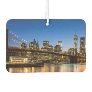 Manhattan and Brooklyn Bridge at dusk Car Air Freshener